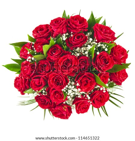 Big bunch bouquet of red roses isolated on the white background - stock photo