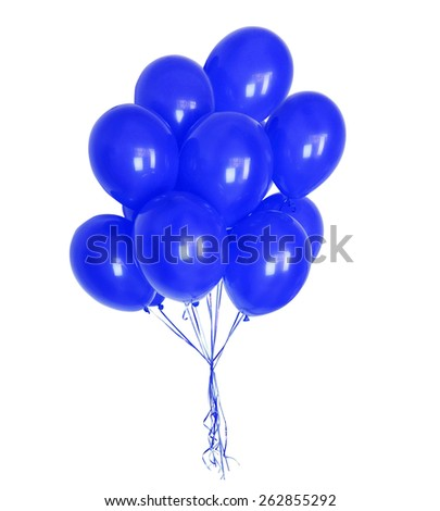 big bunch of balloons, isolated on white background - stock photo