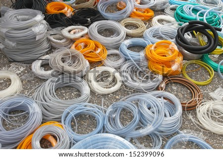 Big bunch of hoses and tube coils