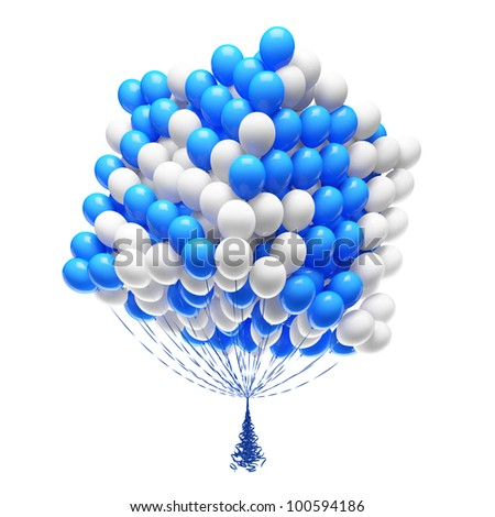 Big bunch of party balloons. Cube shaped. Isolated on white background.