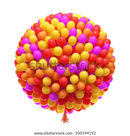 Big bunch of party balloons. Sphere shaped. Isolated on white background.