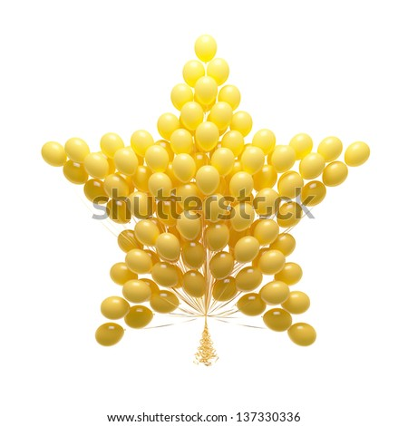 Big bunch of party balloons. Star shaped. Isolated on white background.
