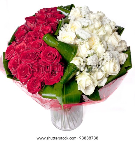 big bunch of red and white roses - stock photo