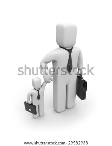Big business is helping small businesses or father and son - stock photo