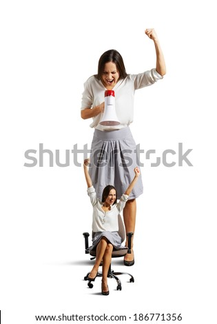 big businesswoman and small happy woman over white background - stock photo