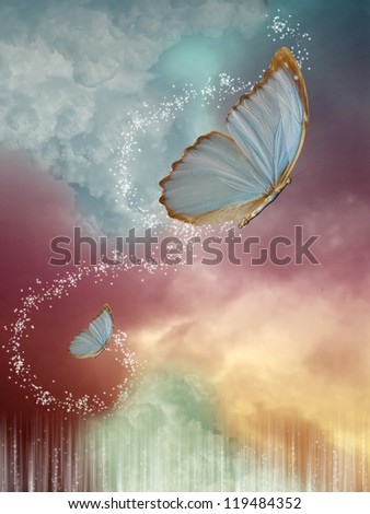 Big  butterflies in the sky with fantasy sky - stock photo