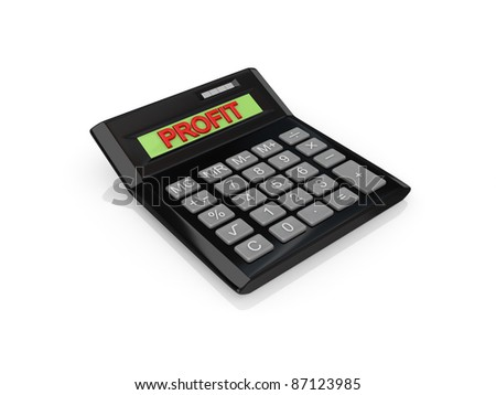 Big calc with a word PROFIT on a screen.Isolated on white background.3d rendered. - stock photo