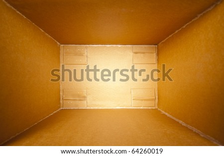 Big cardboard open delivery box. Perspective view - stock photo