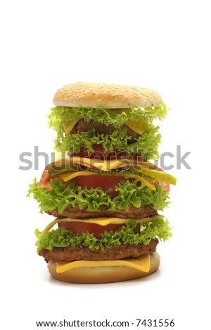 big cheeseburger on white background