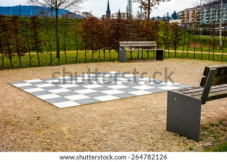 Big chess board in the park