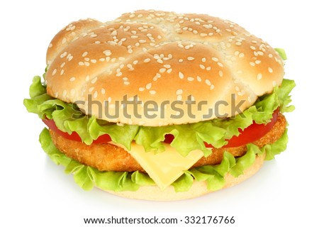 Big chicken burger on white background - stock photo