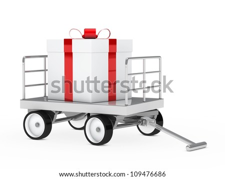 big christmas gift red white on trolley