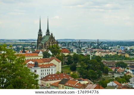 big church in center of city - stock photo