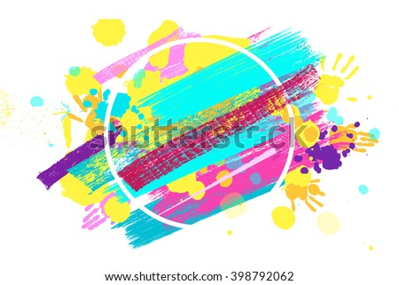 Big circle frame made of colored handprints. Raster version. Great banner for graphic or web design - stock photo