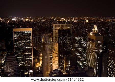 big city by night - stock photo