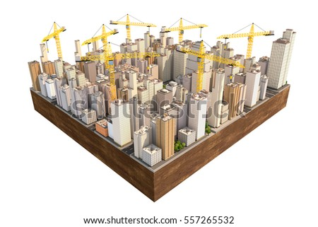Big city in the construction with many cranes. Engineering 3D illustration.