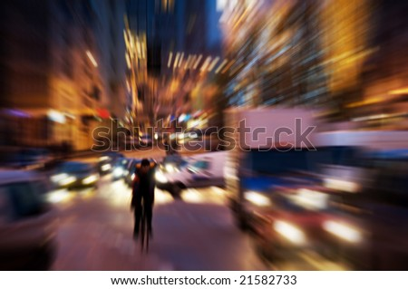 Big city life at night. Dynamic motion blur - stock photo