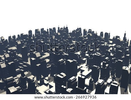 Big city render - stock photo