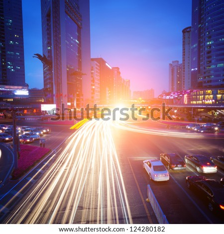 Big city traffic - stock photo