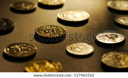 Big Close Up of Singapore Dollar Coins. - stock photo