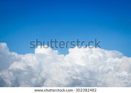 Big clouds against blue sky