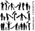 Big collect Silhouette Happy Family with child on walk, Illustration for Design - stock photo