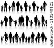 Big collect silhouettes of parents with children, element for design - stock vector