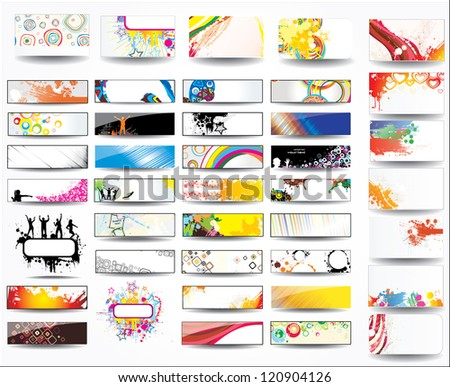 Big collection banners and business cards - stock photo