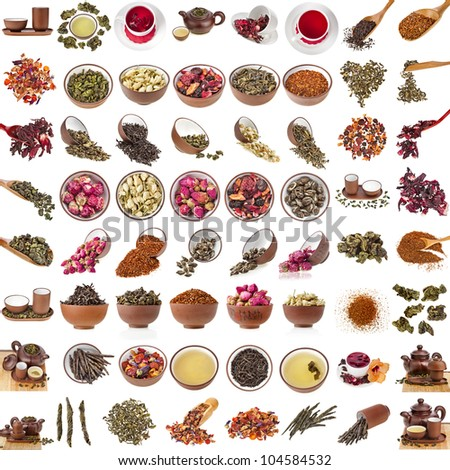 Big Collection Collage set of Tea Leaves Flower in spoon and clay cup, isolated on white background - stock photo