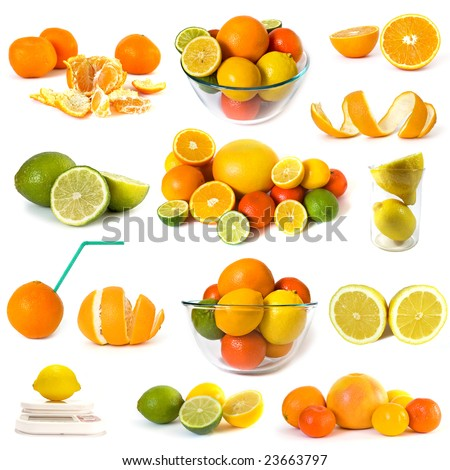Big collection of citrus on white background - stock photo