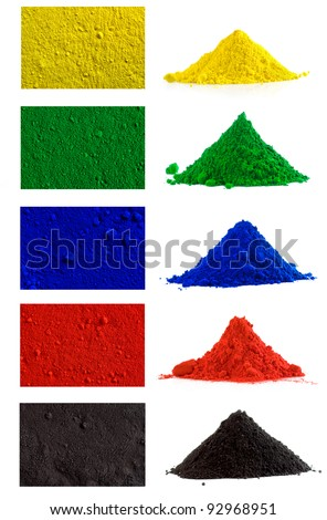 Big collection of colorful powder - yellow, red, black, green, blue - stock photo