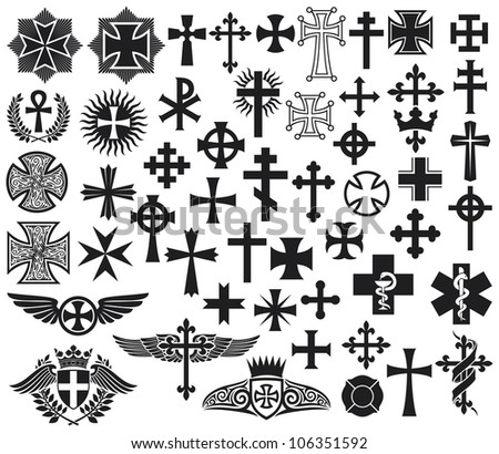 big collection of crosses (crosses set) - stock photo