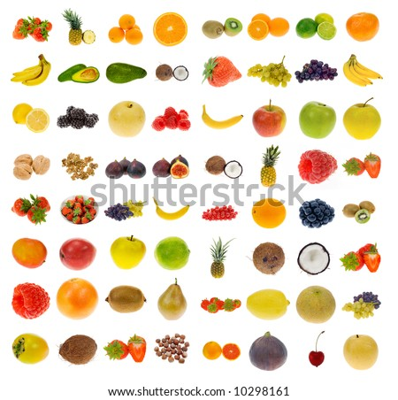 big collection of fruit and nuts, isolated on a white background, all pieces individually photographed in studio and no shade so its easy to select. - stock photo
