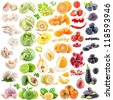 Big collection of fruits and vegetables on white background - stock photo