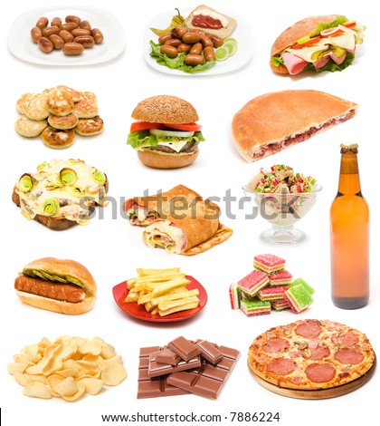 Big collection of junk food - stock photo