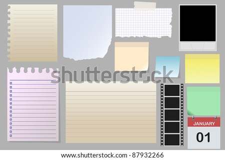 Big collection of message paper on the metal panel, illustration