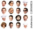 big collection of person faces over white background - stock photo