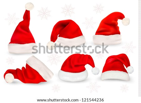 Big collection of red santa hats. Raster version of vector. - stock photo