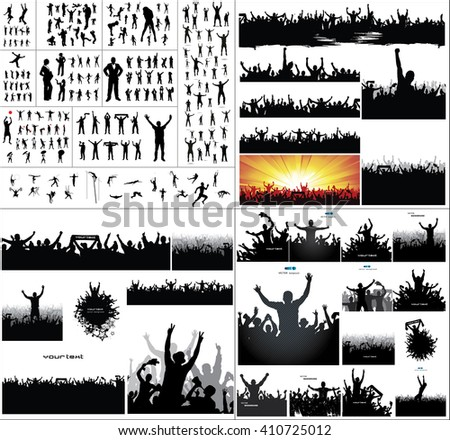 Big collection of silhouettes.And advertising banner for sports championships and concerts - stock photo