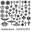 big collection of vector crosses - stock photo