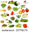 Big collection of vegetables  isolated on white background - stock photo