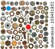 Big collection old rusty Screw heads, bolts, steel nuts, old metal nail, push pins, isolated on white background - stock photo