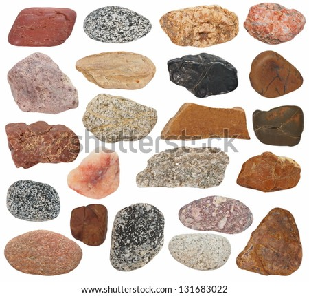 Big Collection Rocks isolated on white background - stock photo