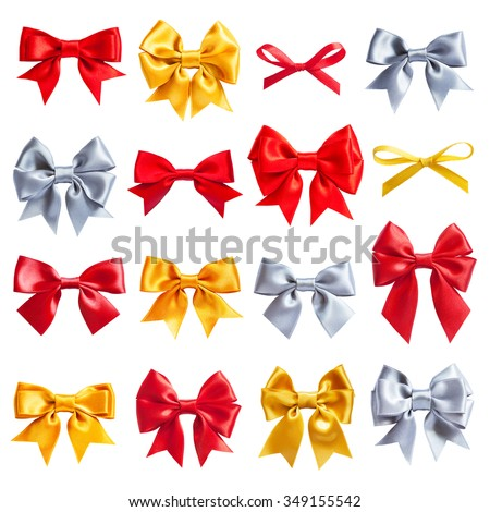 big collection set of red, golden, silver ribbon satin bows isolated on white - stock photo