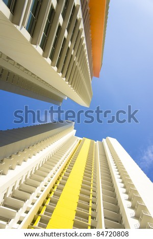Big colorful apartment buildings in residential settlement - stock photo