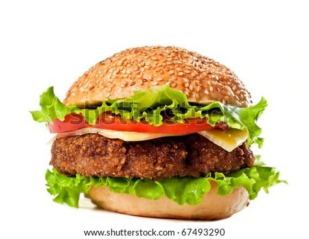 Big colorful hamburger isolated on white - stock photo