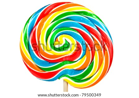 Big colorful lollipop isolated on white background. - stock photo