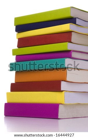 big colorful stack of books isolated with reflection