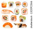 big colorful sushi set on a white background - stock photo