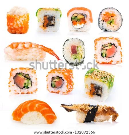 big colorful sushi set on a white background - stock photo